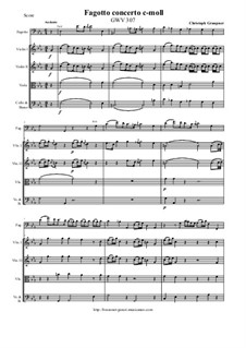 Bassoon concerto c-moll, GWV 307: Score and parts by Christoph Graupner