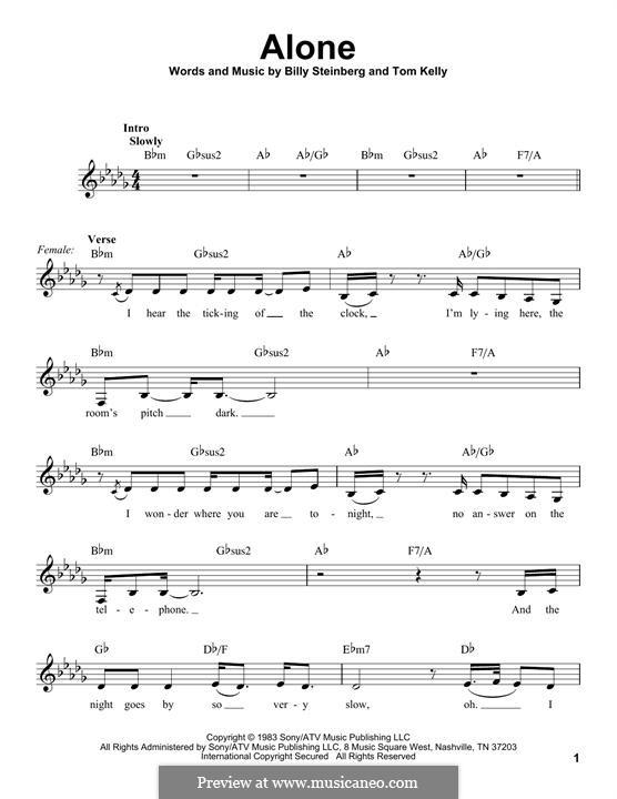 Alone: Lyrics and chords by Billy Steinberg, Tom Kelly