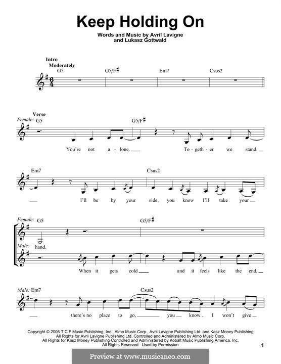 Keep Holding On: Lyrics and chords by Avril Lavigne, Lukas Gottwald