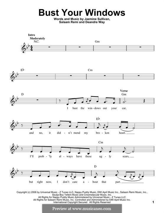 Bust Your Windows: Lyrics and chords by Deandre Way, Jazmine Sullivan, Salaam Remi