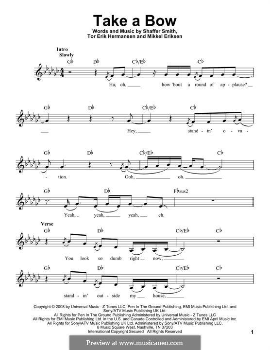 Take a Bow (Rihanna): Lyrics and chords by Mikkel Storleer Eriksen, Ne-Yo, Tor Erik Hermansen