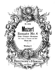 Church Sonata for Two Violins, Organ and Basso Continuo No.4 in D Major, K.144: Violin I part by Wolfgang Amadeus Mozart