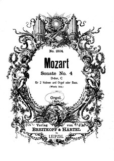 Church Sonata for Two Violins, Organ and Basso Continuo No.4 in D Major, K.144: Organ part by Wolfgang Amadeus Mozart