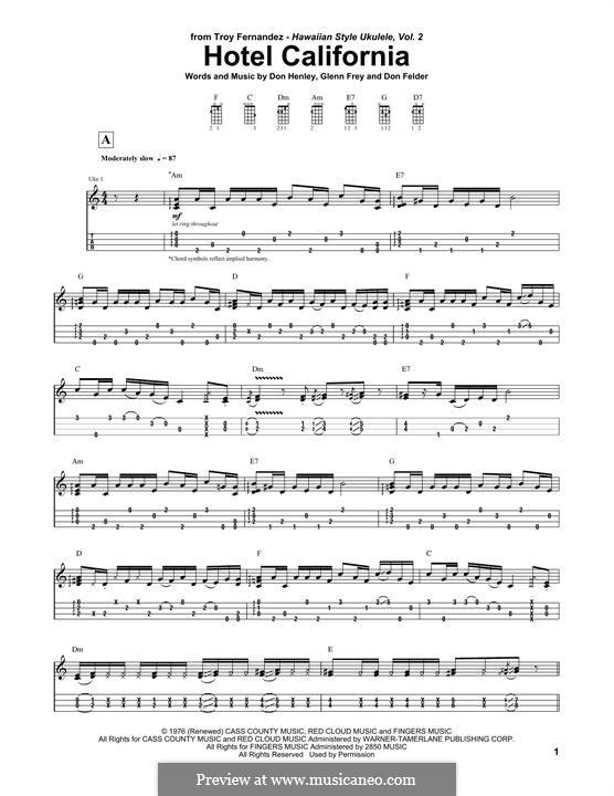 Hotel California (The Eagles): For ukulele by Don Felder, Don Henley, Glen Frey