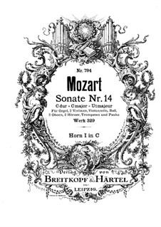 Church Sonata for Orchestra No.16 in C Major, K.329 (317a): French horn I part by Wolfgang Amadeus Mozart