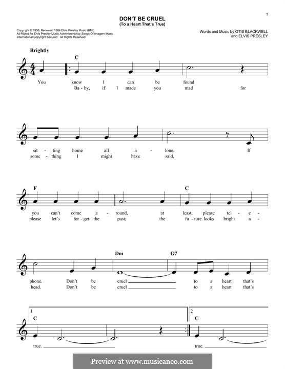 Don't Be Cruel: Melody line by Elvis Presley, Otis Blackwell