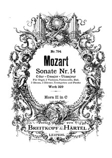 Church Sonata for Orchestra No.16 in C Major, K.329 (317a): French horn II part by Wolfgang Amadeus Mozart