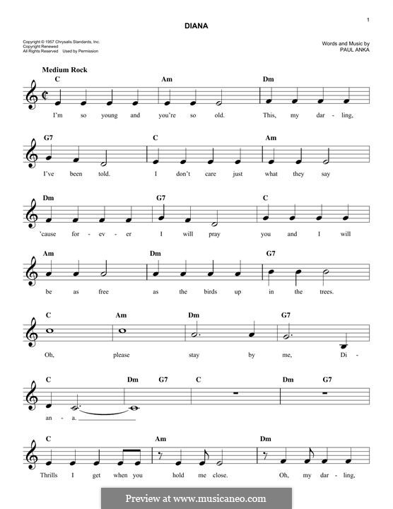 Diana: Melody line by Paul Anka