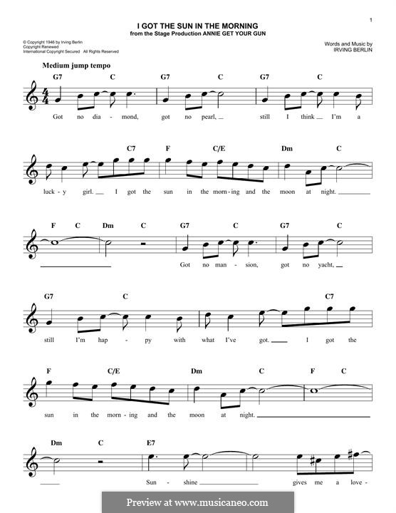 I Got the Sun in the Morning: Melody line by Irving Berlin