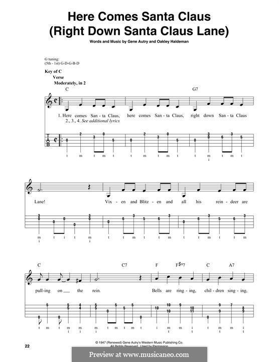 Here Comes Santa Claus (Right Down Santa Claus Lane): For banjo by Gene Autry, Oakley Haldeman