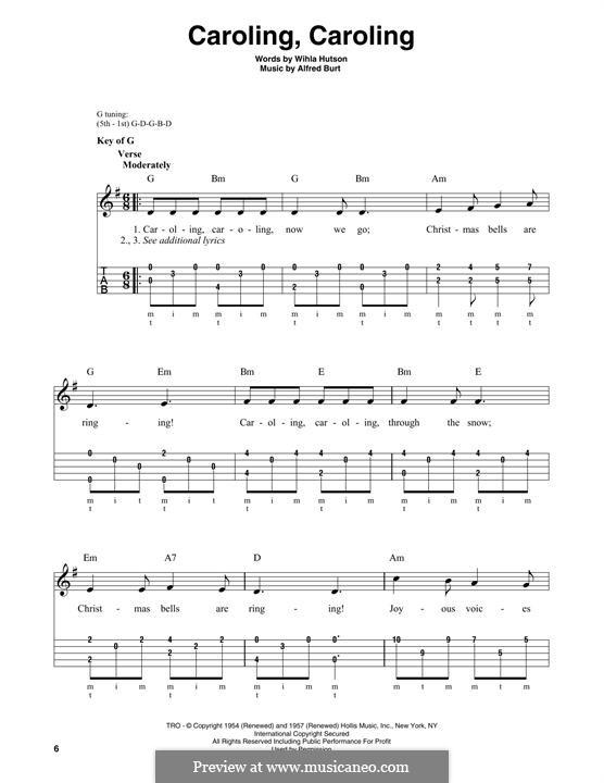 Caroling, Caroling (Nat King Cole): For banjo by Alfred Burt