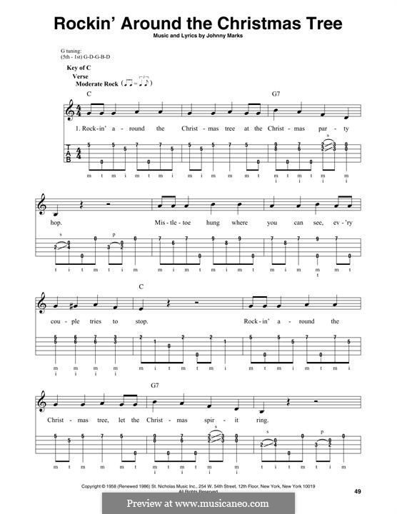 Rockin' Around the Christmas Tree: For banjo by Johnny Marks