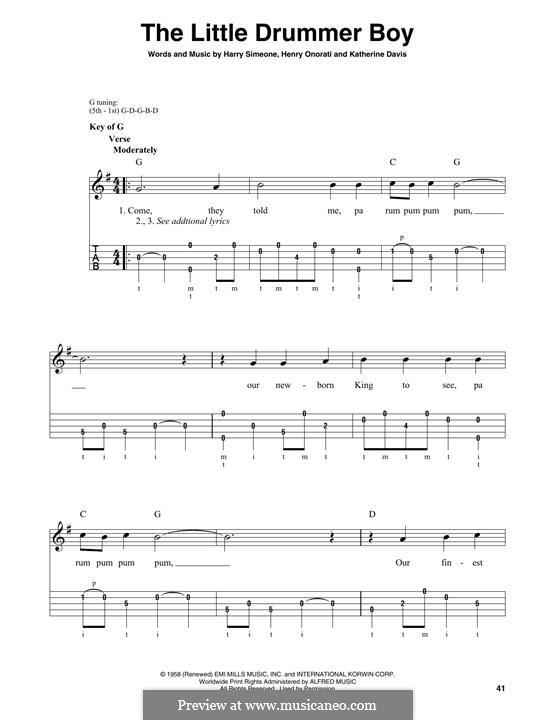 The Little Drummer Boy: For banjo by Harry Simeone, Henry Onorati, Katherine K. Davis