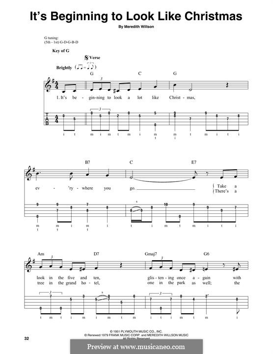 It's Beginning to Look a Lot Like Christmas (Perry Como): For banjo by Meredith Willson