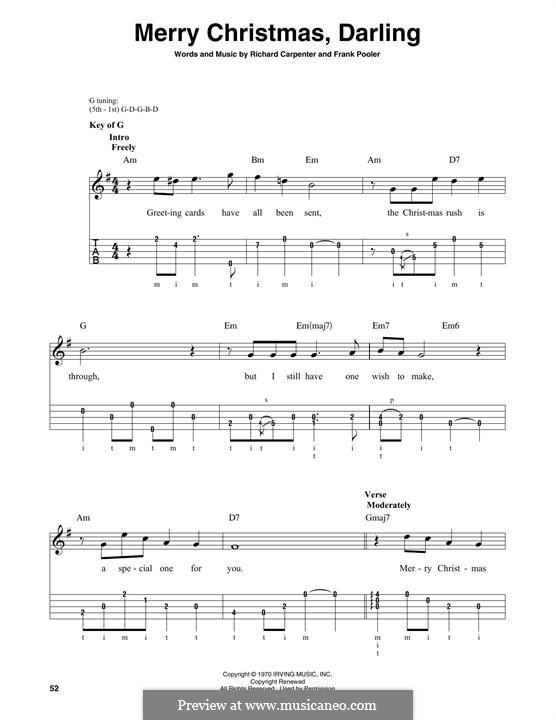 Merry Christmas, Darling (Carpenters): For banjo by Frank Pooler, Richard Carpenter