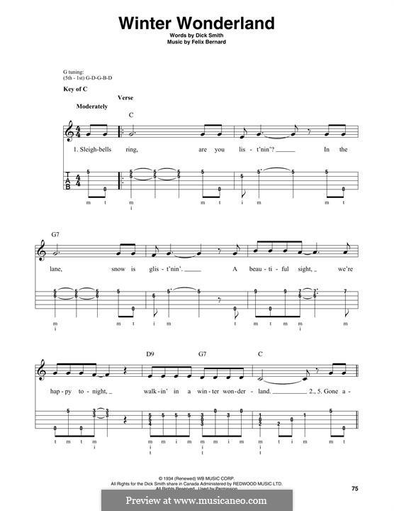 Winter Wonderland: For banjo by Felix Bernard