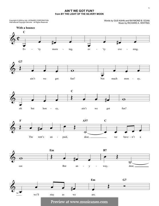 Ain't We Got Fun? (Doris Day): Melody line by Richard A. Whiting