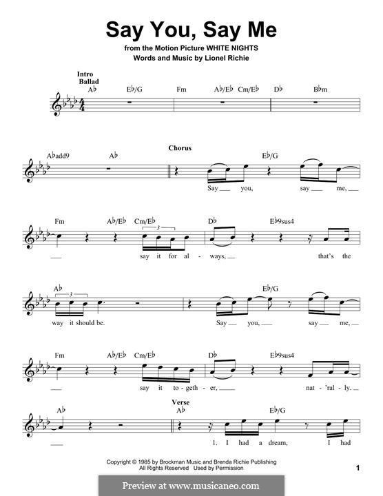 Say You, Say Me: Lyrics and chords by Lionel Richie