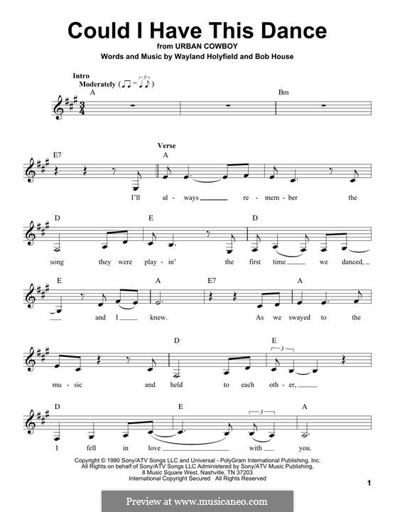 Could I Have This Dance (Anne Murray): Lyrics and chords by Bob House, Wayland Holyfield