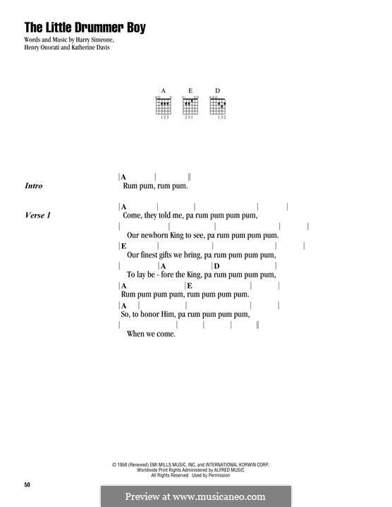 The Little Drummer Boy: Lyrics and chords by Harry Simeone, Henry Onorati, Katherine K. Davis