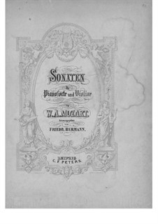 Sonatas for Violin and Piano: Score by Wolfgang Amadeus Mozart