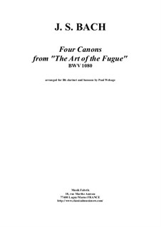 The Art of Fugue, BWV 1080: Four canons, arranged for Bb clarient and bassoon by Johann Sebastian Bach