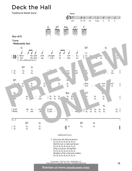 Deck the Hall (Printable): For guitar by folklore