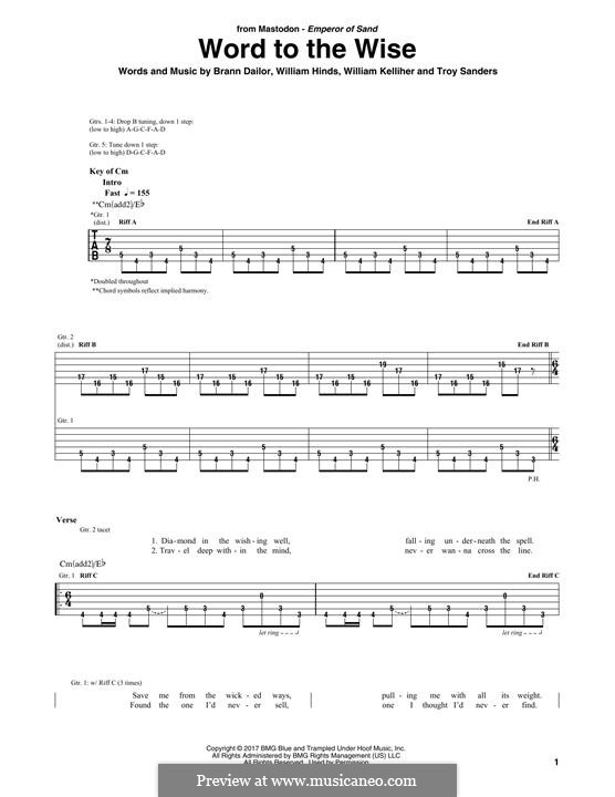 Word to the Wise (Mastodon): For guitar with tab by Brann Dailor, Troy Sanders, William Hinds, William Kelliher
