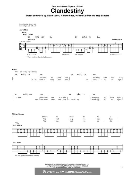 Clandestiny (Mastodon): For guitar with tab by Brann Dailor, Troy Sanders, William Hinds, William Kelliher