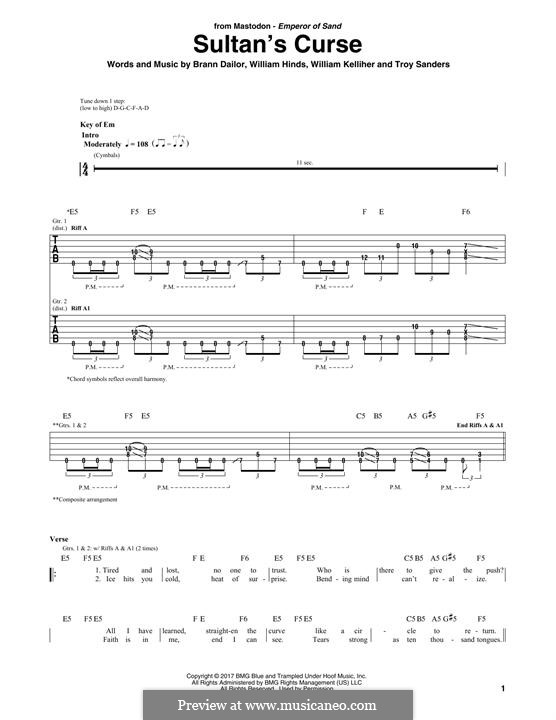 Sultan's Curse (Mastodon): For guitar with tab by Brann Dailor, Troy Sanders, William Hinds, William Kelliher