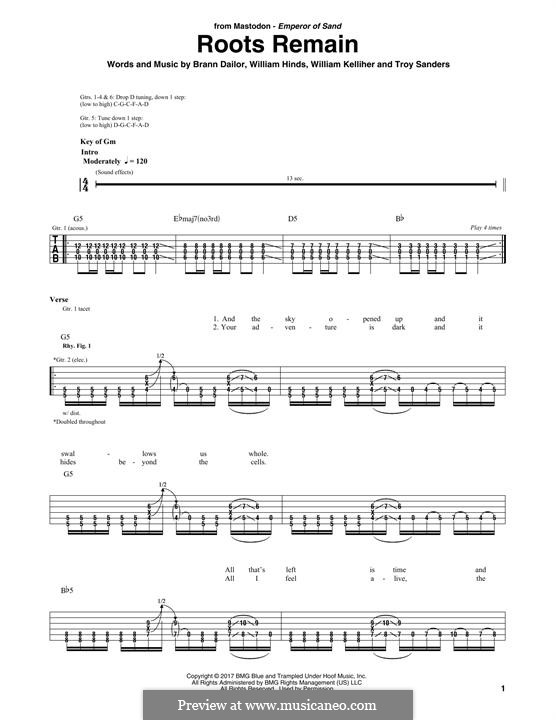 Roots Remain (Mastodon): For guitar with tab by Brann Dailor, Troy Sanders, William Hinds, William Kelliher