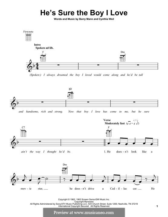 He's Sure the Boy I Love: For ukulele by Barry Mann, Cynthia Weil