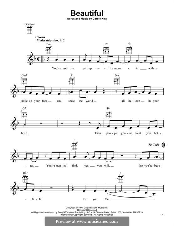Beautiful: For ukulele by Carole King