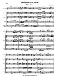 12 Concerti a cinque, Op.1: Concerto No.1 e-moll – score and parts by Carlo Tessarini