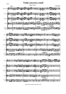 12 Concerti a cinque, Op.1: Concerto No.7 a-moll - score and parts by Carlo Tessarini