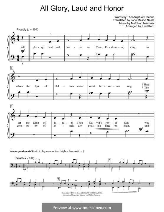All Glory, Laud and Honor: For piano by Melchior Teschner