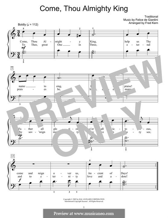 Come, Thou Almighty King: For piano by folklore