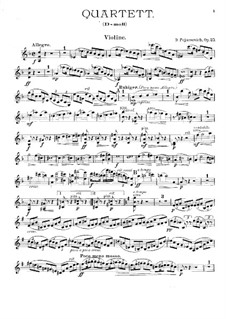 Piano Quartet in D Minor, Op.25: Violin part by Dora Pejačević
