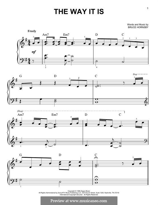 The Way It Is (Bruce Hornsby and The Range): For piano by Bruce Hornsby