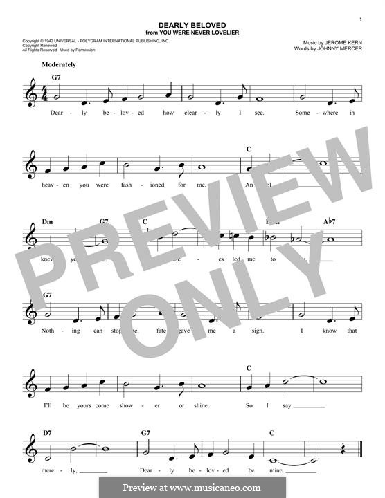 Dearly Beloved: Melody line by Jerome Kern