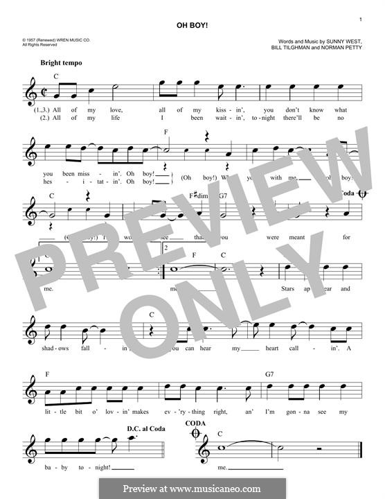 Oh Boy! (Buddy Holly): Melody line by Bill Tilghman, Norman Petty, Sunny West