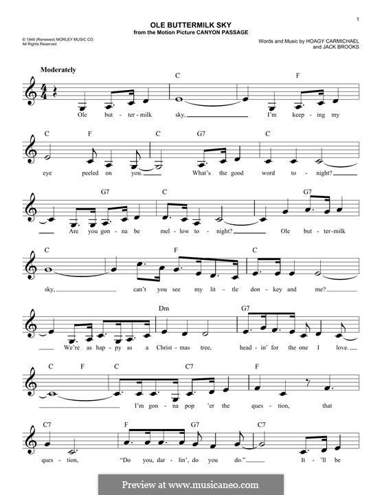 Ole Buttermilk Sky: Melody line by Hoagy Carmichael, Jack Brooks