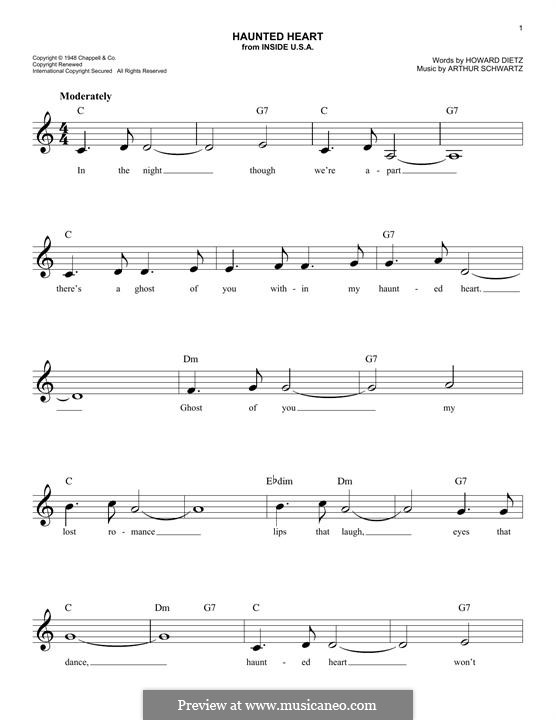 Haunted Heart (Frank Sinatra): Melody line by Arthur Schwartz