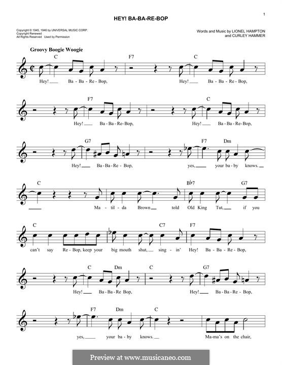 Hey! Ba-Ba-Re-Bop: Melody line by Curley Hammer, Lionel Hampton
