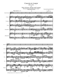 Concerto for Harpsichord and Strings No.4 in A Major, BWV 1055: Version for oboe d'amore, strings and continuo - score and parts by Johann Sebastian Bach