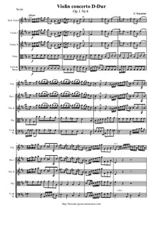 12 Concerti a cinque, Op.1: Concerto No.4 D-Dur - score and parts by Carlo Tessarini