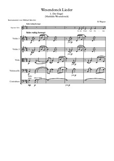 Wesendonck Songs, WWV 91: No.1 Der Engel, for voice and string quintet by Richard Wagner