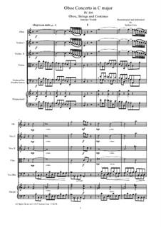 Concerto for Flute and Strings in C Major, RV 447: Version for oboe, strings and continuo - score and parts by Antonio Vivaldi