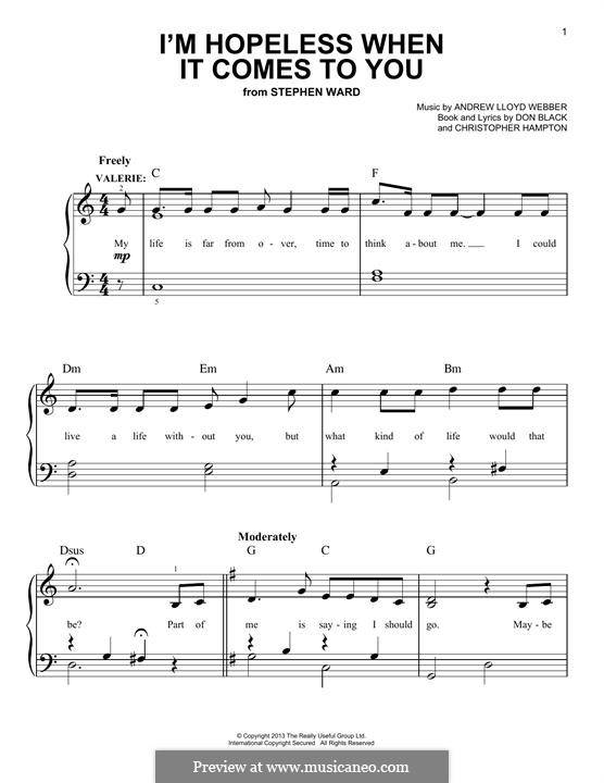 I'm Hopeless When It Comes To You (from 'Stephen Ward'): For piano by Andrew Lloyd Webber