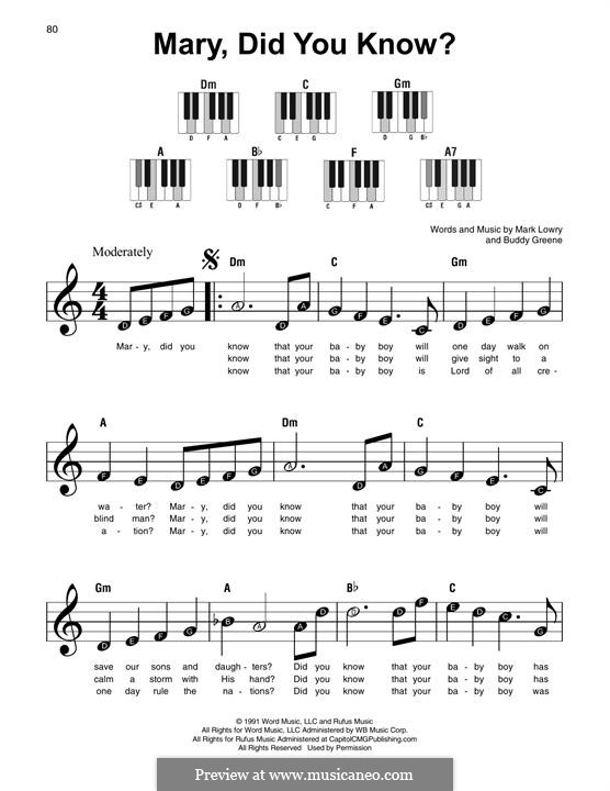 Mary Did You Know?: For piano by Bud Green
